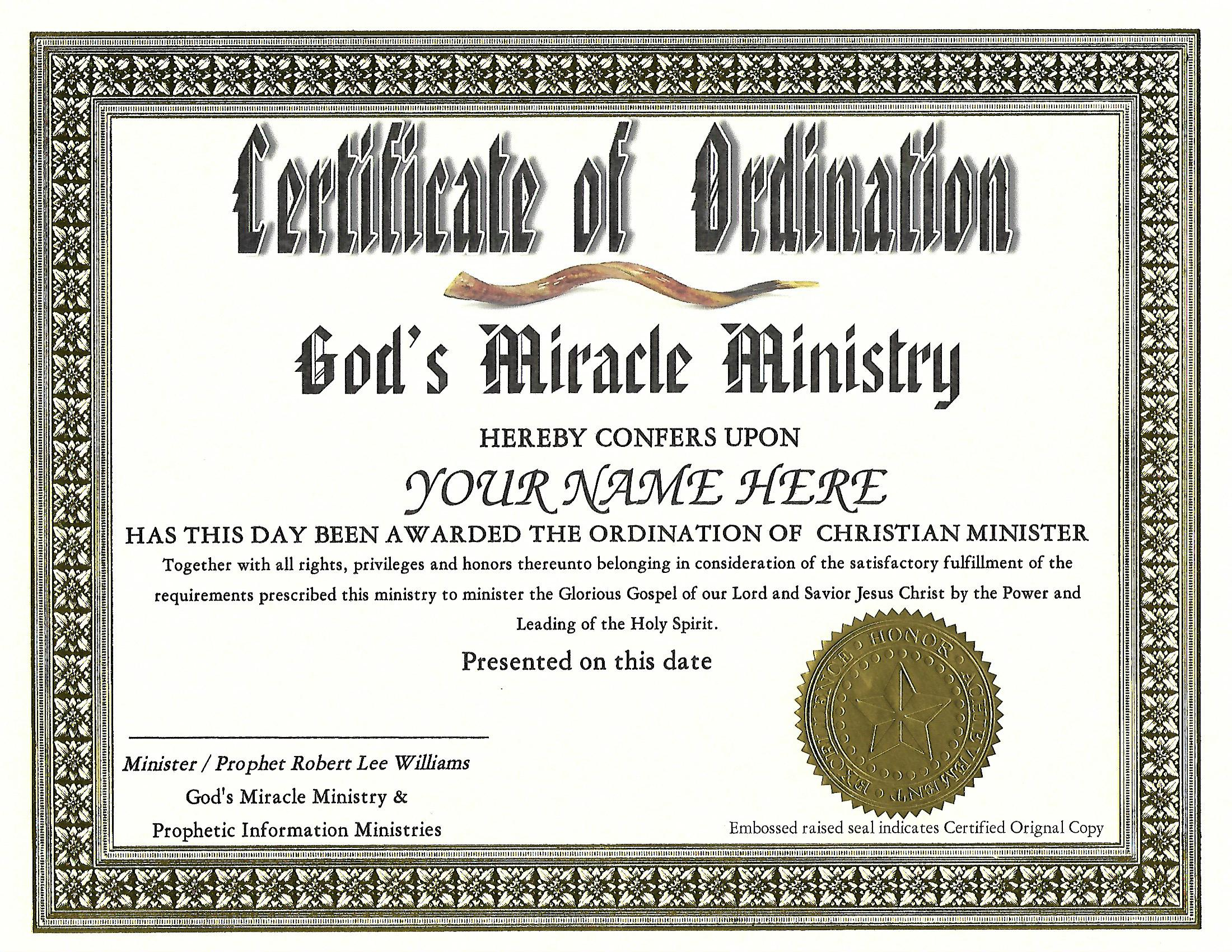 A ordination certificateg will be on elegant 8x10 or 85x11 certificate paper 1betcityfo Image collections